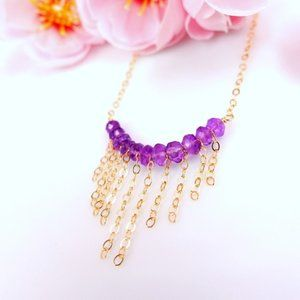 Gold filled purple amethyst bar chain necklace